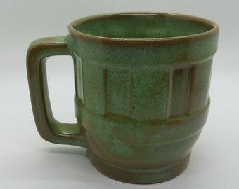 Frankoma Wagon Wheel Prairie Green Brown Mug
