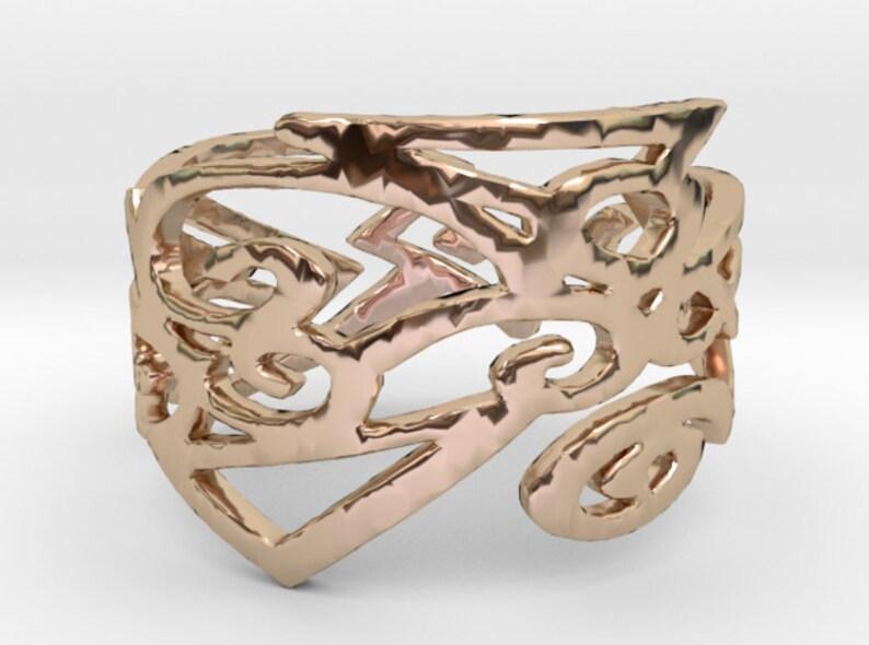 Solid 14k Gold Tribal RingKing  Ring 14 Karat Solid gold image 0