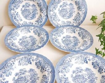 6 Hollow Plates English Porcelain Blue Staffordshire