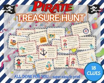Pirate Treasure Hunt, Pirate Treasure Hunt Clues, Pirate Birthday Treasure Hunt, Pirate Scavenger Hunt, Printable Pirate Treasure Hunt