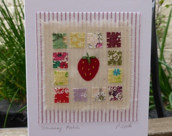 Strawberry Patch hand stitched embroidered and appliqued fabric birthday blank card