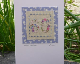 60th Birthday hand stitched embroidered and appliqued fabric card
