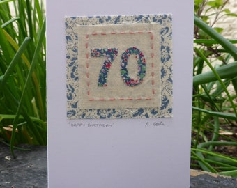 70th Birthday hand stitched embroidered and appliqued fabric card