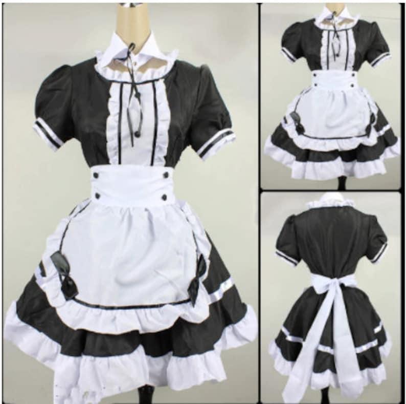 2021 Black Cute Lolita Maid Costumes French Maid Dress