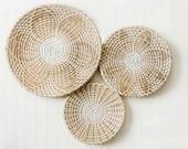 Set of 3 Woven Wall Basket, African Basket for Home Decoration,100 Vietnamese Handmade Rattan Wall Decor, Customizable Bohemian Wall Decor