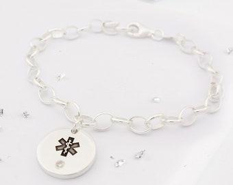 CRYSTAL MEDICAL BRACELET, Medical Id Bracelet, Medical Alert Bracelet, Gastric Bypass, Medical Bracelet Band, Medical Bracelets For Women