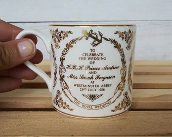 Prince Andrew and Sarah Ferguson Wedding Gold and White Cup by Wedgwood, Cup Made in England, Vintage Royal Wedding Cup, 1986 Cup, 1986 Mug