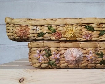 Set of 2 Woven Embroidered Floral Rectangle Baskets, Raffia Embroidered Flowers, Embroidered Baskets, Woven Rectangle Basket, Boho Basket