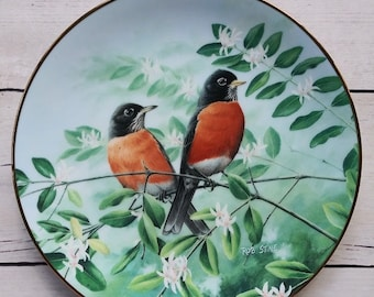 Afternoon Calm Bird Plate from A Treasury of Songbirds Series by Rob Stine