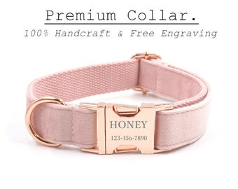 Pink Velvet Dog Collar Lead,Personalise Wedding Dog Wear,Collar Leash Set for Puppies,Rose Gold Engraved Pet Name Buckle