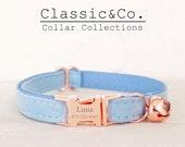 Elegant Sky Blue Velvet Cat Collar, for Male Female Kitten, Adjustable Collar for Cat Small Dog, Bronze Bell and Buckle, Pet Birthday Gift
