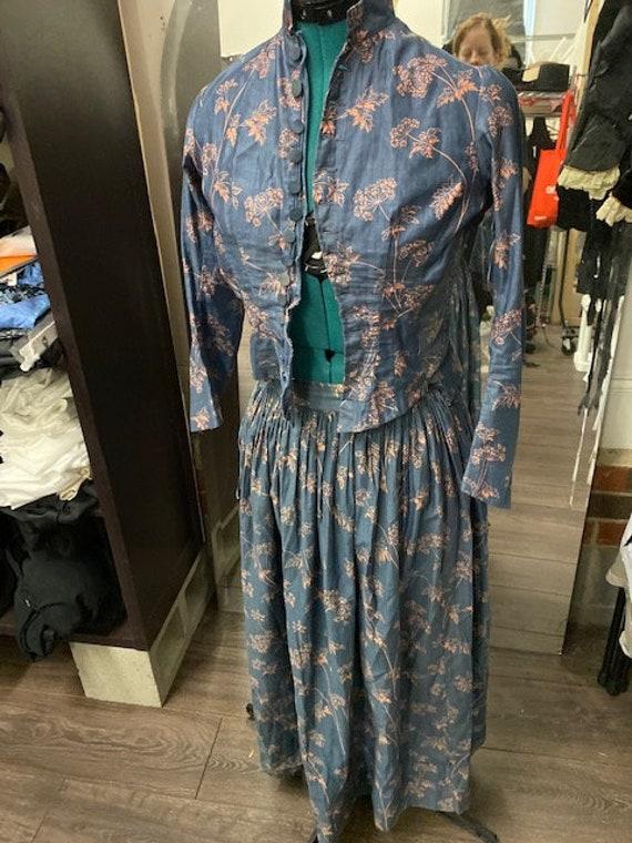 1880s Victorian bustle dress, authentic two piece