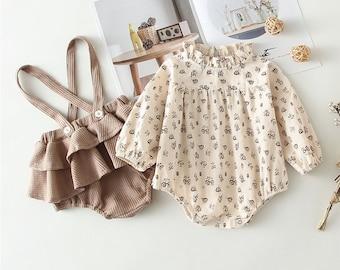 2Pcs Vintage Baby Girl Clothes Fall Set