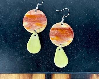 Sunrise Burst, ceramic earrings, clay jewelry, hypoallergenic, yellow, gradient, statement piece