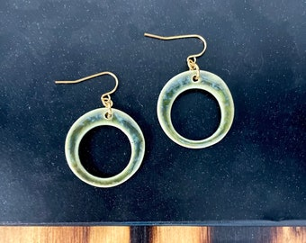 Glossy Greens, ceramic earrings, gold, green, hoops, accessories,