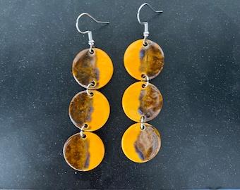 Tri-Dot Dangles, hypoallergenic, orange & brown, ceramic, dangle earrings