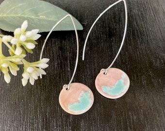 Orange & green drop earrings