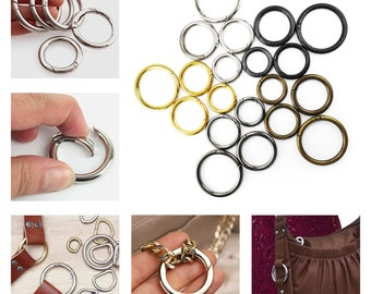 Pack of 2 - Spring gate ring push gate snap hook purse O ring Carbine Snap Clip Hook Metal hooks carabiner for bags
