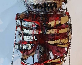 The walking dead inspired zombie, rib cage, lungs and bowels exposed