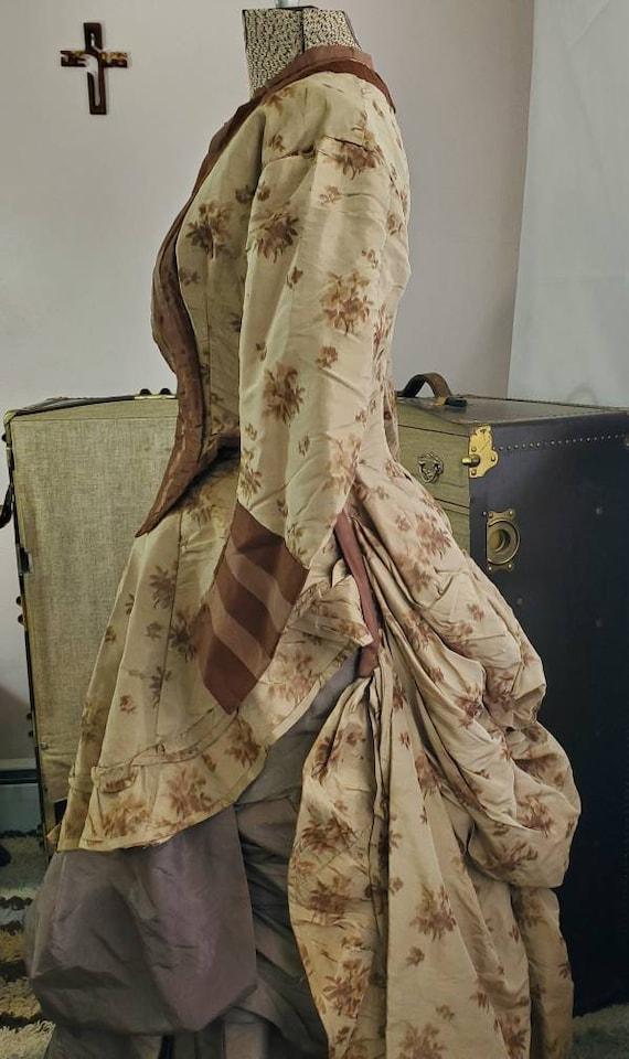 Antique Victorian Silk Taffeta Women's Bustle Gown
