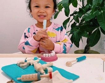 Wooden Montessori Doctor Play Kit-Wooden Toys- Dentist Play Kit Toddler Children Pretend Play Dress Up Kit - Homeschool