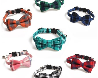 Luxury Removable Bowtie Cat Collar with Quick Release Buckle and Bell