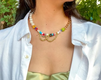Happy go Lucky Beaded Necklace Dupe