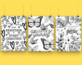 25x Inspirational Quote Colouring pages | Adult Colouring book | Growth Mindset | Printable Colouring Sheets | Motivational Colouring Book