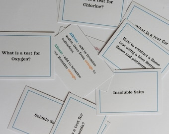 11 x GCSE Chemistry Flashcard Revision Cards for Chemical Tests