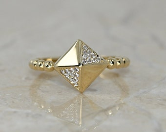 14K Solid Gold Dainty Quadrilateral Pyramid Ring / Handmade Fine Jewelry