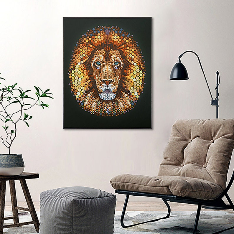 Large Original 3D African Lion King Oil painting on canvas Ben image 0