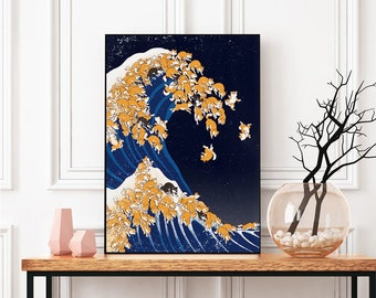 Funny Shiba The Great Wave Night Poster
