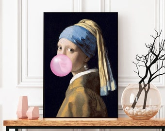 Girl With A Pearl Earring Bubblegum Funny Poster