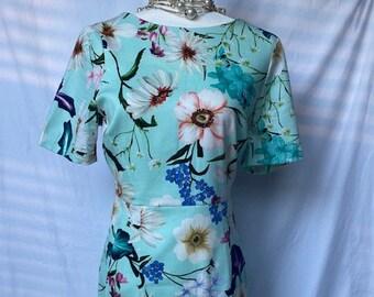 Asos Turquoise floral print dress Size US 8
