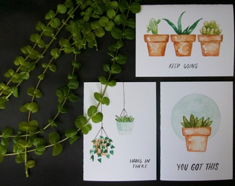 Succulent Encouraging Greeting Card Collection pack / set of 6 with envelopes
