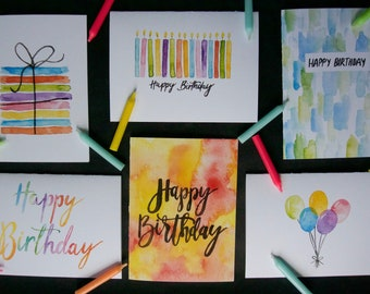 Birthday Card Collection pack / set of 6 with envelopes