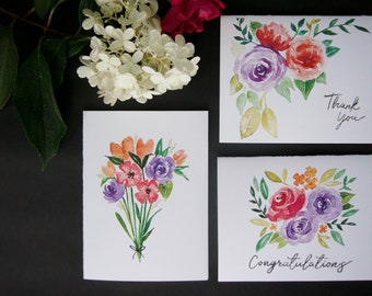 Assorted Flowers Greeting Card Collection pack / set of 6 with envelopes