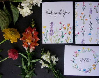 Wildflower Greeting Card Collection pack / set of 6 with envelopes
