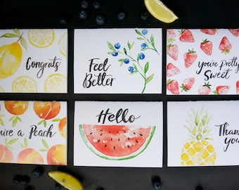 Assorted Fruit Card Collection pack / set of 6 with envelopes
