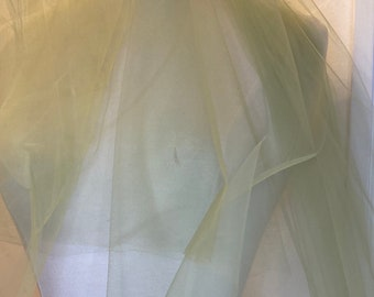 """Olive green tulle fabric 54"""" inches matt nylon made in USA"""