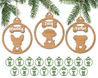 Dog Christmas Ornament SVG, Dog Ornament Bundle Svg, Christmas Tree Ornaments SVG, Laser Cut File, Dog Paw Svg, Glowforge files, Dog Paw SVG