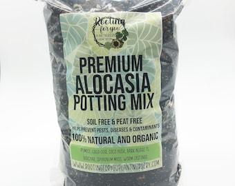 Alocasia Premium Potting Mix SOIL LESS Mix 1/2 Gallon and 1 Gallon Resealable Bags Organic - Oregon Licensed Nursery - Alocasia Soil