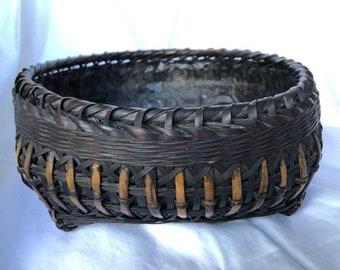Antique Japanese Tea Ceremony Bamboo Charcoal Basket (Sumitori)