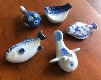 Vintage Hashioki Mix: 4 Fugu & a Flounder Chopstick Rests