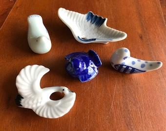 Vintage Hashioki Mix: Blue & White Bird Chopstick Rests