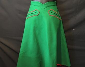 Felt Skirt Green Red Trim Mid Century