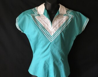 Mexican Top Teal Silver Ric Rac Mid Century