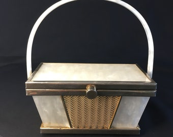 Vintage Tyrolean Lucite and Brass Box Bag