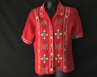 RARE Mexican Blouse Multi Coloured Embroidery Mid Century