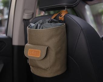 4L Car Trash Can , 100% Leak-Proof Car Trash Bag, Waterproof Hanging Garbage Bin - Army Green